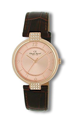 Claude Pascal Damenuhr mit Lederband braun Damenarmbanduhr 1481656