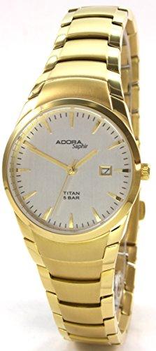 Adora Saphir 60103 4GO Titan Metallband Saphirglas Gold Ionenplattiert