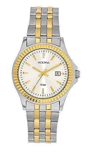 Armbanduhr Analoguhr Edelstahl bicolor IP gelb mit Datumsanzeige Adora Classical Touched 28429