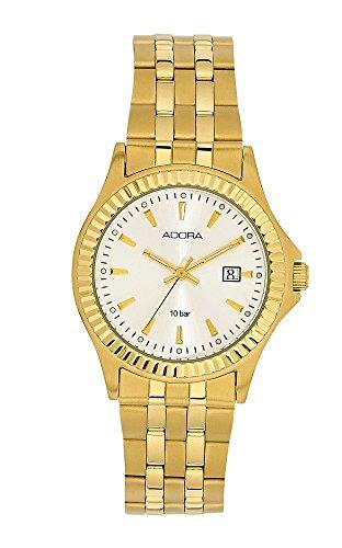 Armbanduhr Analoguhr Edelstahl gelbgoldfarben mit Datumsanzeige Adora Classical Touched 28430