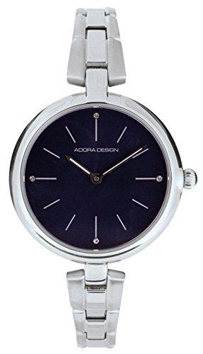 Armbanduhr Analoguhr Edelstahl silberfarben mit Faltschliesse Adora Design 28431