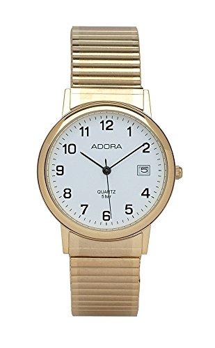 Armbanduhr Analoguhr Edelstahluhr gelbgoldfarben mit Zugband und Datumanzeige Adora 28397