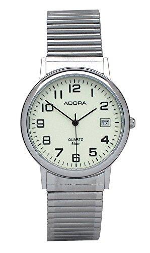 Armbanduhr Analoguhr Edelstahluhr silberfarben mit Zugband und Datumanzeige Adora 28391