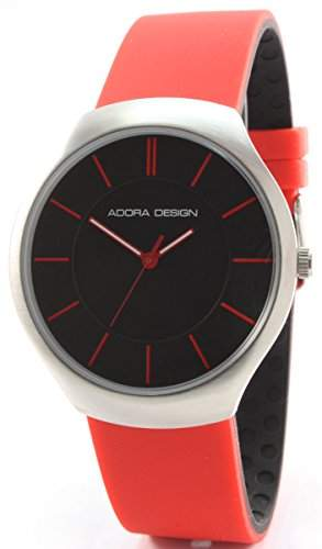 Adora Design C2549R Edelstahl Armbanduhr Schwarz Rot Silikonband