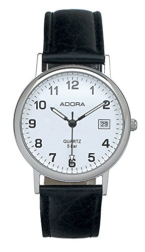 Armbanduhr Analoguhr Edelstahluhr silberfarben mit Lederarmband schwarz und Datumanzeige Adora 28399