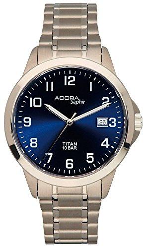 Armbanduhr Quarzuhr Analoguhr Titan mit Datumsanzeige Adora Saphir 29025 Variante 02