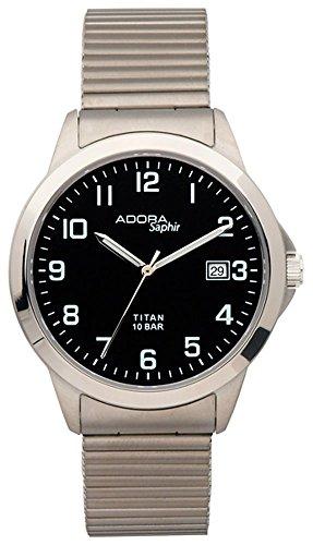 Armbanduhr Quarzuhr Analoguhr Titan mit Datumsanzeige Adora Saphir 29081 Variante 04