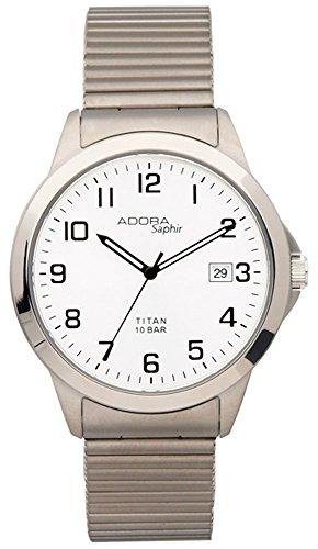 Armbanduhr Quarzuhr Analoguhr Titan mit Datumsanzeige Adora Saphir 29081 Variante 03