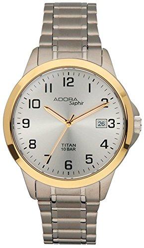 Armbanduhr Quarzuhr Analoguhr Titan mit Datumsanzeige Adora Saphir 29025 Variante 04
