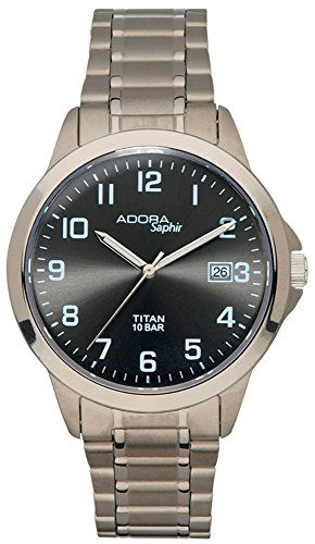 Armbanduhr Quarzuhr Analoguhr Titan mit Datumsanzeige Adora Saphir 29025 Variante 03