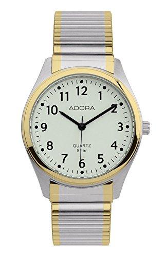 Armbanduhr Analoguhr Edelstahluhr bicolor mit Zugband Adora 28389