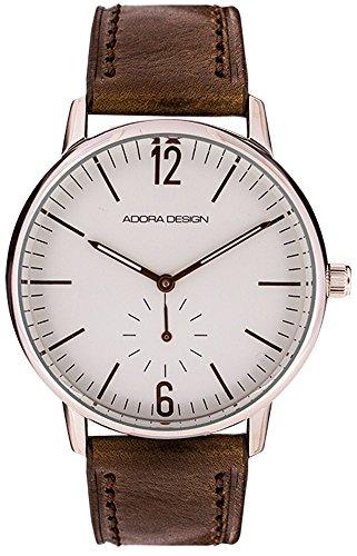Armbanduhr Analoguhr Edelstahluhr silbern mit Lederarmband braun Adora Design 28455