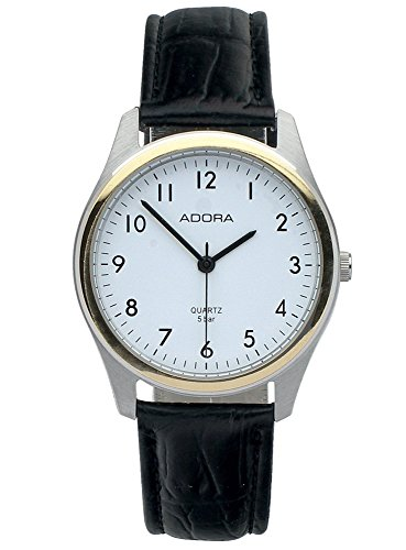 Armbanduhr Analoguhr Edelstahluhr bicolor mit Lederarmband schwarz Adora 28406