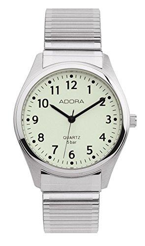 Armbanduhr Analoguhr Edelstahluhr silberfarben mit Zugband Adora 28387