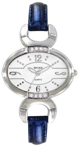 A-Shivas 48452-201 Damen-Armbanduhr Lolla Quarz analog Leder Blau