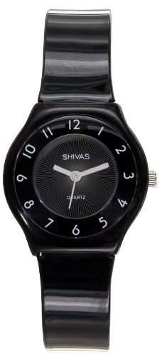 A-Shivas 48472-003 Damen-Armbanduhr Alyce Quarz analog Kunststoff Schwarz