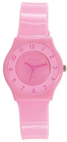 Shivas-A48472-012Damen-Armbanduhr-Quarz Analog-Zifferblatt Rosa Armband Kunststoff rosa
