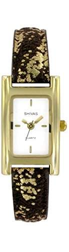 Shivas-a43032-305Damen-Armbanduhr 045J699Analog gold-Armband Leder Schwarz
