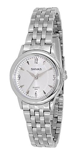 Shivas a18844 201 Damen Armbanduhr 045J699 Analog weiss Armband Stahl Silber