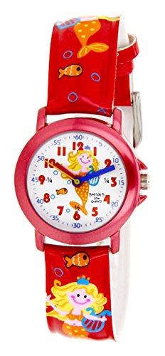Shivas A21172 004 Zeigt Kinder Quarz Analog Zifferblatt weiss Armband Polyurethan rot