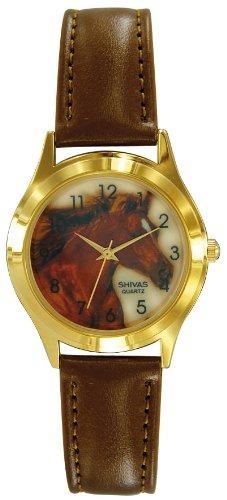 Shivas A37652 034 Zeigt Kinder Quartz Analog Weisses Ziffernblatt Armband Leder braun