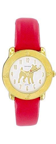 Shivas a41942 109 Damen Armbanduhr 045J699 Analog gold Armband Leder Rot
