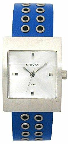 Shivas a42562 008 Damen Armbanduhr 045J699 Analog silber Armband Leder Blau