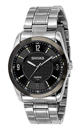 Shivas a18853 304 Armbanduhr Quarz Analog Zifferblatt schwarz Armband Stahl Silber