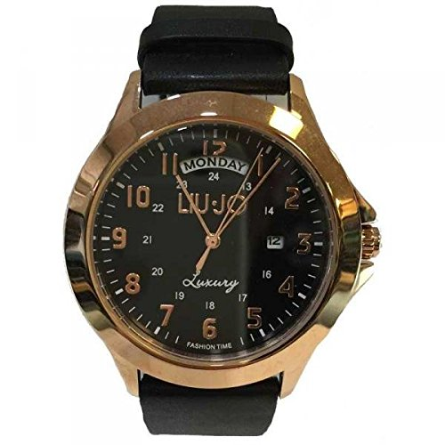 LIU JO Uhr Unisex camp581 Luxury Limited Edition Schwarz Leder Gold Pink Data