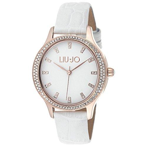 LIU JO TLJ1008 GISELLE ROS WHITE Uhr Damenuhr Lederarmband Edelstahl 50m Analog Zirkonia weiss
