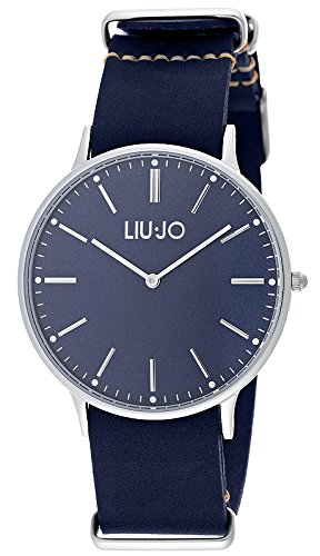 LIU JO TLJ966 NAVY BLUE Uhr Lederarmband Edelstahl 30m Analog blau