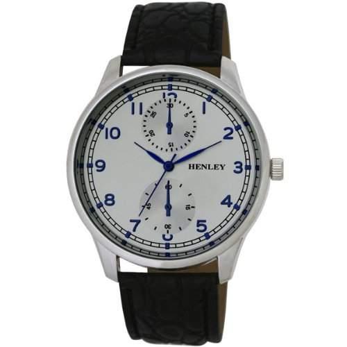 Henley City Collection Herren Armbanduhr mit silber Zifferblatt Analog-Anzeige und schwarzem Kunststoff Gurt h0101516