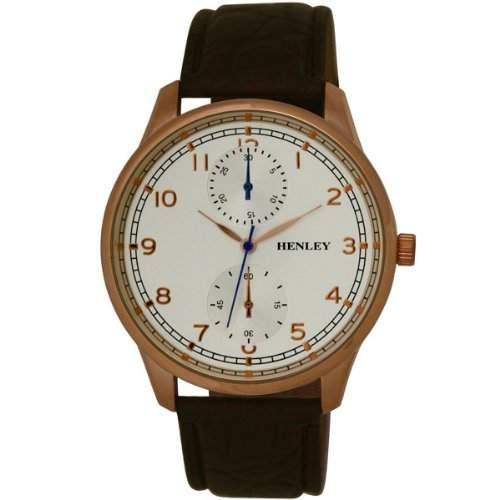 Henley City Collection Herren Armbanduhr mit silber Zifferblatt Analog-Anzeige und schwarzem Kunststoff Gurt h0101544
