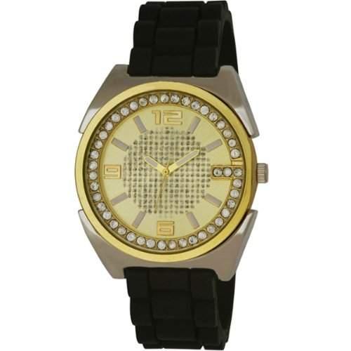 MenHenley Damen Armbanduhr Analog Gold Zifferblatt Analog-Anzeige und Schwarz-Silikon-Buegel H020432,