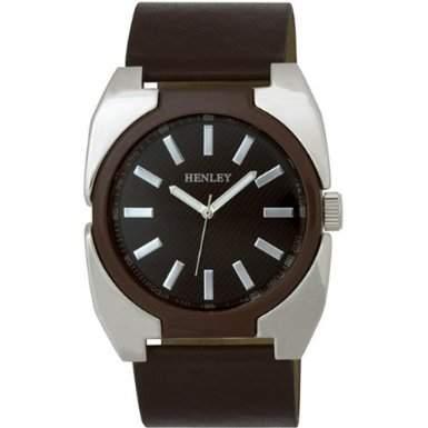 Henley H020512 Herren Chrom poliert und Emaille Mode-Quarz-Uhr mit schwarzem Zifferblatt Analog-Anzeige und Brown Silikonband