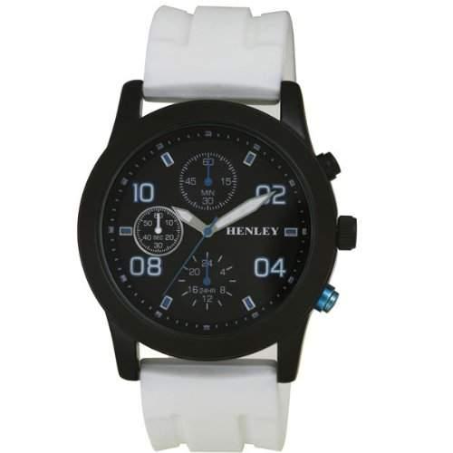 Henley Sports Men- Armbanduhr Henley Gents Decorative Multi-Eye schwarzem Zifferblatt Analog-Anzeige und weisse Silikon Strap H020714