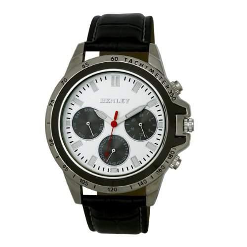 Henley MenMultifunktions-Sport-Quarz-Uhr mit weissem Zifferblatt Analog-Anzeige und Schwarz-Silikon-Buegel H020771 in Geschenkbox