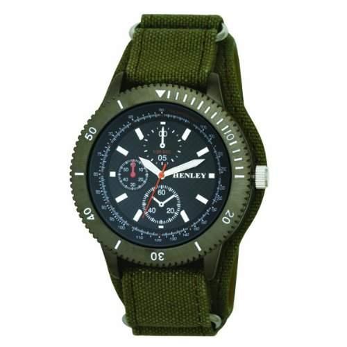 Henley Herren Armbanduhr mit schwarzem Zifferblatt Analog-Anzeige und grünes Stoffarmband, H0207911
