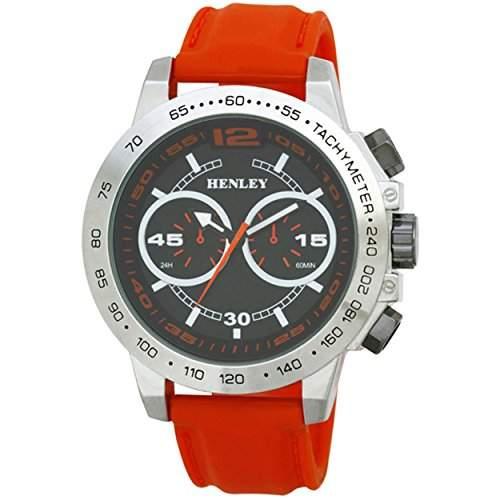 Mode Armbanduhr Henley Gents Decorative Multi-Dial MenEye Herren Quarzuhr mit schwarzem Zifferblatt Analog-Anzeige und Silicone Strap H020823-Orange