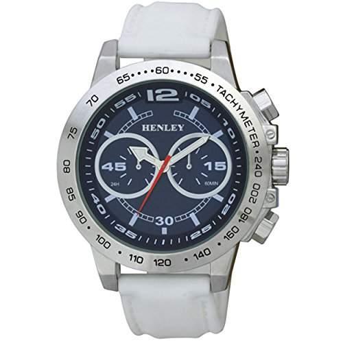 Henley Fashion Uhr mit dekorativem multi-eye Zifferblatt Herren Quarz-Uhr mit schwarzem Zifferblatt Analog-Anzeige und Weiss Silikon Strap h020826