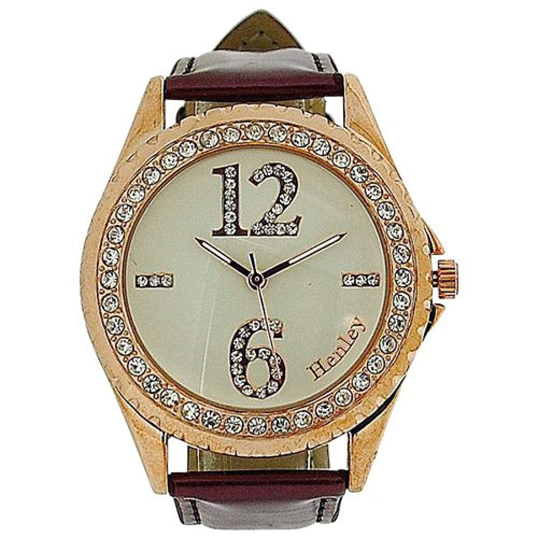 Henley Damen Armbanduhr Henley Ladies Diamante WomenRotgold Fashion Damen Armbanduhr Analog Kunststoff rot H0607110 Gurt