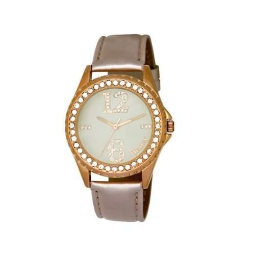 Henley Damen Armbanduhr Henley Ladies Diamante Fashion Rose Gold WomenArmbanduhr Analog Kunststoff grau, H0607114