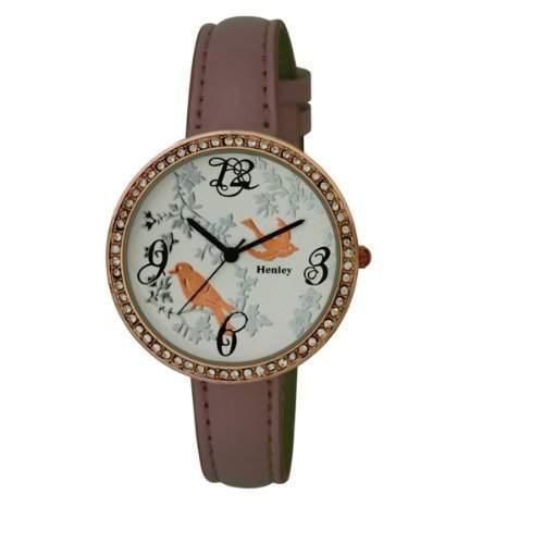 Henley Damen-Armbanduhr Henley Ladies Rose Gold Diamante Fashion Watch Analog Plastik Rosa H060725