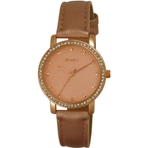 Henley Damen-Armbanduhr Henley Ladies Rose Gold Case Watch with Diamante encrusted crystals Analog Plastik Rosa H060875