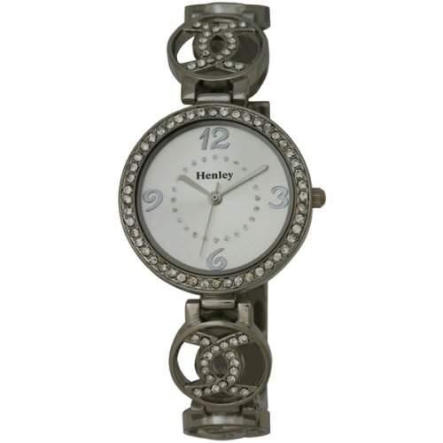 Henley Damen-Armbanduhr Henley Ladies Crystal Set Linking Links Bracelet Watch Analog Edelstahl beschichtet Silber H071641