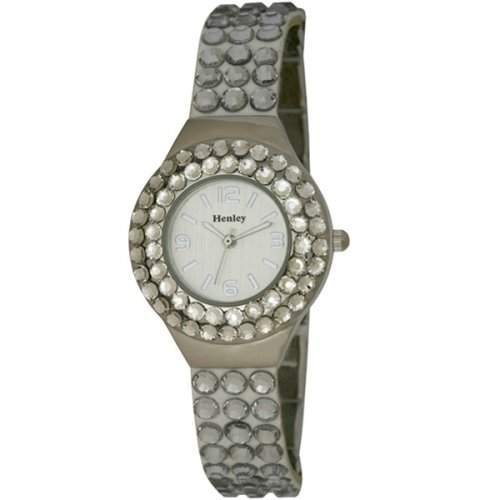Henley Damen-Armbanduhr Henley Ladies Cluster Set Combination Watch Analog Edelstahl beschichtet Schwarz H071664