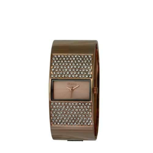 Henley Damen Armbanduhr WomenStrass Kristall-Rose-Gold Zifferblatt Analog-Anzeige und H0720914 Edelstahl Armreif Rotgold vergoldet