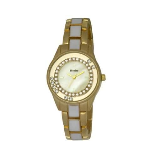Henley Damen-Armband, mit schwebenden, Women- Armbanduhr Analog Quarz Armband Edelstahl Rotgold Silber vergoldet H072202