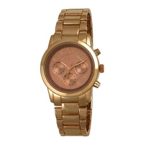 Henley Fashion Rose Dekoration mit Gold-Augen-Zifferblatt und Tasten Womens Armbanduhr Analog Quarz Edelstahl Rose Gold H0722914 Armband Rotgold