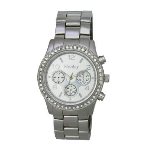Henley Fashion Armband, mit Deko-Eye Zifferblatt, Tasten und Kristallsteinen WomenHerren-Armbanduhr 17251562 Analog-Anzeige und Silber-Edelstahl-Armband H072301